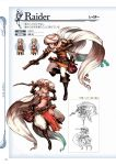1boy 1girl arabian_clothes bag belt black_gloves blonde_hair bob_cut boots brown_boots brown_eyes brown_hair cape chibi dagger djeeta_(granblue_fantasy) earrings elbow_gloves full_body gloves gran_(granblue_fantasy) granblue_fantasy gun highres holding holding_weapon jewelry knee_boots lineart loincloth male_focus midriff minaba_hideo official_art raider_(granblue_fantasy) scan scarf short_hair simple_background turban weapon