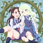 2girls :d asymmetrical_bangs bangs blonde_hair blue_dress blue_eyes blue_legwear brown_hair commentary commentary_request couple diana_cavendish dress eye_contact half_updo holding_arm kagari_atsuko kneehighs little_witch_academia long_hair long_sleeves looking_at_another multiple_girls neck_ribbon open_mouth red_eyes ribbon round_teeth sabo10 sash school_uniform shirt side-by-side sitting sleeveless sleeveless_dress smile sparkle teeth wavy_hair white_shirt yuri