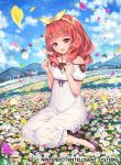 blush bow butterfly celica_(fire_emblem) child collarbone commentary_request company_connection copyright_name day dress field fire_emblem fire_emblem_cipher fire_emblem_echoes:_mou_hitori_no_eiyuuou flower hair_bow holding jewelry long_hair necklace official_art open_mouth outdoors petals red_eyes redhead short_sleeves sitting smile solo sparkle