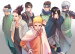 6+boys aburame_shino arms_behind_back bandage bandaged_arm black_hair blonde_hair blue_eyes boruto:_naruto_next_generations brown_hair cape cloak curamubuono facial_hair fingerless_gloves forehead_protector gloves goatee hair_bun half_mask hand_on_hip hatake_kakashi highres jewelry looking_at_viewer multiple_boys nara_shikamaru naruto necklace sai sarutobi_konohamaru scarf silver_hair spiky_hair sword topknot uchiha_sasuke uzumaki_naruto visor weapon whisker_markings whiskers
