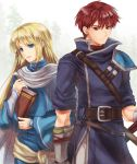 2boys blonde_hair blue_eyes book fire_emblem fire_emblem:_rekka_no_ken holding holding_book long_hair looking_at_viewer lucius multiple_boys nemupon_(goodlucky) raven_(fire_emblem) redhead sheath sheathed short_hair smile sword weapon