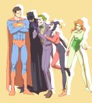 2girls 3boys abs bare_shoulders barefoot batman batman_(series) bow bowtie cape closed_eyes crossed_arms dc_comics domino_mask full_body green_hair green_lips green_skin grin harley_quinn highres long_hair mask multiple_boys multiple_girls nr_(nyuro2) open_mouth orange_hair poison_ivy sketch smile standing superman the_joker
