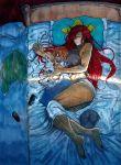 2girls bed blush cat colored fairy fairy_maid fairy_wings hong_meiling koyubi_(littlefinger1988) long_hair maid multiple_girls muscle muscular_female pointy_ears redhead scar short_hair short_sleeves sleeping spooning touhou wings