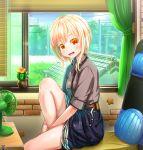 1girl abo_(kawatasyunnnosukesabu) blonde_hair blush cactus curtains electric_fan looking_at_viewer orange_eyes original parted_lips short_hair short_sleeves sitting smile solo window