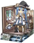 1girl :3 :d ahoge azumaya_(miyui001) black_cat blue_eyes blue_hair blush book boots brown_hair cat character_doll character_request hair_between_eyes hat long_hair longcat mushoku_tensei open_mouth photo_(object) picture_frame pigeon-toed roxy_migurdia rudeus_greyrat smile solo staff white_boots window witch_hat