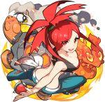 asuna_(pokemon) long_hair pants pokemon ponytail red_eyes redhead slugma torkoal