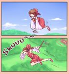 1girl bow brown_eyes brown_hair dab_(dance) floating hair_bow hair_tubes hakurei_reimu highres looking_at_viewer looking_away red_bow short_hair solo sound_effects touhou yoruny