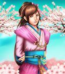 1girl arms_behind_back brown_eyes brown_hair dress japanese_clothes koei oichi oichi_(sengoku_musou) sakura_tree samurai_warriors sengoku_musou sincity2100 sky smile solo tree