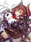 1girl :o black_dress black_legwear blush breastplate breasts brown_hair bursting_breasts cleavage cleavage_cutout cowboy_shot doraf dress fang forte_(shingeki_no_bahamut) granblue_fantasy hair_between_eyes hong_(white_spider) horns large_breasts long_hair open_mouth oppai_loli orange_eyes pointy_ears shield shingeki_no_bahamut short_dress solo thigh-highs very_long_hair