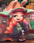 1girl baggy_clothes ebii_(splatoon) eyelashes green_eyes hat long_hair mantis_shrimp miura_(splatoon) one_eye_closed orange_hair sandals sea_slug signature smile splatoon splatoon_2