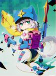1girl animal_ears ass blush bodysuit chromatic_aberration dog_tail eyebrows_visible_through_hair green_eyes gun highres holding holding_gun holding_weapon kneeling looking_at_viewer original parted_lips pointy_ears rocket_launcher rpg rpg-7 saebashi scarf short_hair silver_hair solo tail weapon yellow_scarf
