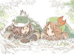 1boy 1girl brown_hair eye_contact finger_to_mouth gloves granblue_fantasy hat hoshikuzushi jasmine_(granblue_fantasy) leaf long_hair looking_at_another lying on_ground on_stomach scar shushing simple_background smile walder white_background