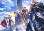 3boys 3girls agravain_(fate/grand_order) armor armored_dress artoria_pendragon_lancer_(fate/grand_order) blonde_hair blue_dress blue_eyes blue_sky bow bow_(weapon) breastplate cape checkered checkered_floor clarent closed_mouth clouds cloudy_sky commentary_request day dress excalibur_galatine fate/apocrypha fate/extra fate/grand_order fate_(series) faulds full_armor fur_trim gawain_(fate/extra) glowing glowing_weapon greaves green_eyes hand_on_hilt helmet highres holding holding_bow_(weapon) holding_sword holding_weapon lack lance lancelot_(fate/grand_order) long_hair looking_at_viewer multiple_boys multiple_girls outdoors pauldrons polearm purple_hair redhead rhongomyniad saber saber_of_red short_hair sky standing sword throne tristan_(fate/grand_order) weapon