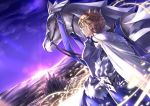 1girl ahoge animal armor armored_dress artoria_pendragon_lancer_(fate/grand_order) barding blonde_hair blue_dress braid breastplate castle city cloak closed_mouth commentary_request crown dress dutch_angle expressionless fate/grand_order fate_(series) french_braid from_side fur-trimmed_cloak gauntlets glowing glowing_weapon gradient_sky green_eyes hair_between_eyes hair_bun headwear_removed helmet helmet_removed holding holding_helmet horizon horse light_particles linon looking_away mountain purple_sky reins rhongomyniad saber sidelocks standing twilight weapon white_cloak