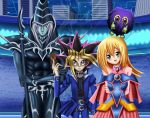 1girl alternate_outfit arms_behind_back blonde card_game city clear_kuriboh dark_magician dark_magician_girl duel duel_monster green_eyes happy kuriboh multiple_boys mutou_yuugi sincity2100 white_hair yami_yuugi yu-gi-oh! yuu-gi-ou_duel_monsters