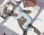 10s 2girls animal_hood bed bed_sheet cat_hood closed_eyes cnm elbow_gloves gangut_(kantai_collection) gloves grey_hair gun handgun hat hat_removed headwear_removed hibiki_(kantai_collection) hood kantai_collection long_hair multiple_girls pistol silver_hair sleeping stuffed_animal stuffed_toy teddy_bear verniy_(kantai_collection) weapon