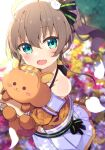 1girl :d ahoge bangs blurry blurry_background blush brown_hair cat_hair_ornament collarbone commentary_request depth_of_field eyebrows_visible_through_hair fang green_eyes hair_between_eyes hair_ornament highres hololive jacket looking_at_viewer natsuiro_matsuri navel object_hug off-shoulder_jacket okota_mikan open_mouth orange_jacket pleated_skirt puffy_short_sleeves puffy_sleeves short_sleeves side_ponytail sidelocks skirt smile solo stuffed_animal stuffed_squirrel stuffed_toy virtual_youtuber white_skirt