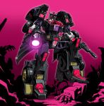 1boy deadlock decepticon drift full_body glowing glowing_eyes glowing_weapon gun holding holding_weapon insignia looking_at_viewer machine machinery mecha multiple_boys no_humans personification pose purple_background red_eyes robot solo standing transformers weapon zuma_(zuma_yskn)