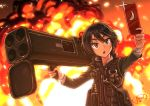 1girl black_hair cellphone cellphone_camera dreadtie explosion explosive grenade highres open_mouth original phone rocket_launcher self_shot short_hair signature solo standing violet_eyes weapon