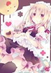 1girl :3 =_= animal_ears apron apron_lift bangs black_legwear black_skirt blonde_hair blue_panties blush braid breasts cat_band_legwear cat_ears cat_tail chocolate chocolate_on_face detached_sleeves dutch_angle eyebrows_visible_through_hair food food_on_face frilled_apron frills hair_between_eyes hair_ribbon heart heart-shaped_food long_hair looking_at_viewer maid medium_breasts millcutto original panties pantyshot parted_lips polka_dot_ribbon puffy_detached_sleeves puffy_sleeves purple_ribbon ribbon skirt solo striped striped_panties tail tail_ribbon thigh-highs thighs twin_braids underwear upskirt valentine violet_eyes waist_apron white_panties