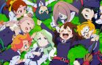 ^_^ ^o^ amanda_o'neill blush book broom closed_eyes constanze_amalie_von_braunschbank-albrechtsberger diana_cavendish eating everyone food glasses grass happy highres jasminka_antonenko kagari_atsuko little_witch_academia lotte_jansson lying on_back sandwich school_uniform smile sucy_manbavaran
