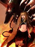 bird_wings brown_hair centauroid fiery_background fire giant_monster highres leg_lift less lion_paw lion_tail long_hair midriff open_mouth scarf shaded_face slit_pupils smirk sphinx tail wings yellow_eyes