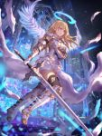 1girl armor armored_boots bangs blonde_hair blue_eyes blurry boots breasts center_opening church commentary depth_of_field dress elbow_gloves floating_hair full_body gloves hair_between_eyes halo holding holding_sword holding_weapon jname light_particles long_hair medium_breasts mosaic_art original outdoors parted_lips pointy_ears solo sword thigh-highs thigh_boots weapon white_boots white_dress white_gloves white_wings wings