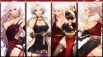 :d artist_request bare_shoulders black_clothes black_legwear bracelet bracer breasts choker claws cleavage collarbone cowboy_shot dungeon_and_fighter earrings female_slayer_(dungeon_and_fighter) fishnet_legwear fishnets garter_straps gauntlets gloves hand_on_hip hand_up highres jewelry large_breasts long_hair looking_at_viewer looking_back midriff necklace open_mouth parted_lips red_eyes red_lips short_hair smile spiked_bracelet spikes standing sword thigh-highs usamero very_long_hair weapon white_hair