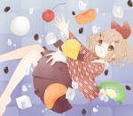 1girl :q bangs barefoot blue_background blunt_bangs brown_eyes brown_skirt cherry coffee_beans commentary_request eyebrows_visible_through_hair food fruit hair_ornament hair_ribbon hakama_skirt highres horns ice ice_cube japanese_clothes kimono kiwifruit light_brown_hair long_sleeves mandarin_orange meiji_schoolgirl_uniform original pineapple pleated_skirt potamaru print_kimono red_ribbon ribbon short_eyebrows skirt smile solo thick_eyebrows tongue tongue_out tsurime water_drop wavy_hair wide_sleeves x_hair_ornament yagasuri