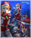 blue_eyes blush boots bow_(artist) bow_(bhp) braid brown_eyes christmas glasses green_eyes green_hair hat highres original purple_hair santa_costume santa_hat skirt snow snowing stocking_cap thigh-highs thighhighs