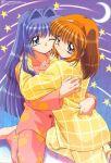 blue_eyes blue_hair hairband hug kanon key_(company) long_hair minase_nayuki moon multiple_girls orange_hair pajamas pijama red_eyes short_hair star stars tsukimiya_ayu wink