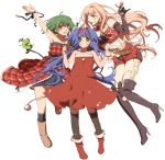 bad_id bare_shoulders blue_eyes blue_hair boots christmas elbow_gloves gloves green_eyes green_hair headband klan_klein legs long_hair macross macross_frontier multiple_girls murakami_yuzu pink_hair ranka_lee red_eyes ribbon ribbons sheryl_nome short_hair sleeveless thigh-highs thigh_boots thighhighs