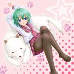 cherry_(dog) cherry_(lucky_star) feet green_hair iwasaki_minami kisaragi_miyu lucky_star lying pantyhose school_uniform serafuku short_hair