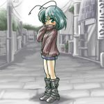 alternate_costume antenna antennae boots casual contemporary green_hair miniskirt pantyhose skirt sweater touhou winn wriggle_nightbug