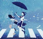 bag black_hair kumaori_jun paper ponytail school school_uniform serafuku skirt umbrella wind