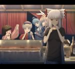 animal_ears bad_id blue_eyes blue_hair brown_hair bunny_ears casual cigarette drunk everyone food fujiwara_no_mokou grill houraisan_kaguya inaba_tewi kamishirasawa_keine long_hair mafu multiple_girls purple_hair rabbit_ears red_eyes reisen_udongein_inaba smoking t-shirt touhou translated white_hair yagokoro_eirin yakitori