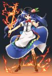 blue_hair boots dress fire flames food fruit gengorou grin hat highres hinanawi_tenshi long_hair peach peaches red_eyes smile sword sword_of_hisou touhou weapon