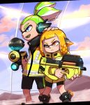 1boy 1girl black_shirt black_shoes black_shorts clouds cloudy_sky day emblem green_hair green_tongue hand_on_another's_head headgear hero_shot_(splatoon) holding holding_weapon inkling jacket light_smile long_hair long_sleeves makotou one_eye_closed open_mouth orange_eyes orange_hair shirt shoes short_hair shorts single_vertical_stripe sky splatoon splatoon_2 squidbeak_splatoon standing topknot turtleneck weapon weapon_request yellow_jacket yellow_vest