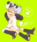 2boys black_hair blue_eyes choker closed_eyes gloves grey_hair ikari_shinji licking male_focus multiple_boys nagisa_kaworu neon_genesis_evangelion panda_ears panda_hat panda_tail paw_gloves paw_shoes paws plico_(nicoma) shirtless shoes yaoi
