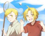 /\/\/\ 2boys :d :o alphonse_elric blonde_hair blush brothers butterfly butterfly_net child clouds edward_elric eyebrows_visible_through_hair flying fullmetal_alchemist hand_net happy looking_at_another looking_at_viewer male_focus multiple_boys open_mouth red_shirt riru shirt short_hair siblings sky smile surprised white_shirt yellow_eyes