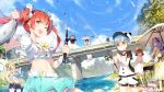 >_< 6+girls :d ;d animal_hat apron arms_up bangs barbecue bare_shoulders baseball_cap beach_umbrella belt belt_buckle bird black_hair blonde_hair blue_hair blue_sky bow bowtie breasts bridge brown_hair bucket buckle chair character_request cleavage clouds crescent crop_top day denim denim_shorts dress eyebrows_visible_through_hair fang fish fishing fishing_hook fishing_rod flower frilled_skirt frills glasses green_eyes grill hair_bow hair_flower hair_ornament hair_ribbon hairband hand_on_hip hat holding holding_bucket jitome lens_flare lf long_hair looking_at_another looking_back medium_breasts midriff multiple_girls navel official_art one_eye_closed open_mouth outdoors ponytail puffy_short_sleeves puffy_sleeves purple_hair red_eyes redhead ribbon river sailor_collar sandals shaded_face shaonyu_cofee_gun shirt shoes short_hair short_sleeves shorts skirt sky sleeveless sleeveless_dress small_breasts smile sparkle squiggle standing star sun_hat sundress sunlight tied_shirt tree twintails umbrella water water_drop white_dress yellow_bow yellow_bowtie