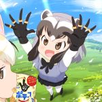 >:d 2girls :d animal_ears black_bow black_bowtie black_gloves black_hair black_skirt blonde_hair blush bow bowtie brown_eyes clouds common_raccoon_(kemono_friends) day eating fennec_(kemono_friends) fox_ears gloves grey_hair holding jitome kemono_friends meadow miniskirt mouth_hold multicolored_hair multiple_girls mushi_gyouza open_mouth outdoors pantyhose pleated_skirt product_placement raccoon_ears skirt sky smile snack standing sunlight white_legwear