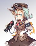 1girl animal_ears aqua_hair arm_warmers armband artist_name belt binoculars blonde_hair blue_eyes blue_nails brown_hat brown_skirt buttons fantasy frilled_skirt frills goggles goggles_on_headwear hat iron_cross multicolored_hair nail_polish necktie pocket red_necktie skirt smile standing two-tone_hair woo_kim