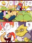 2girls alphys blazer blouse blue_skin blush_stickers bon_(rump) boots brown_boots cat comic denim dress green_dress jacket jeans multiple_girls pants paw_print paws translation_request undertale undyne white_blouse white_capelet yellow_skin