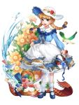 1girl :d antweiyi basket bird black_shoes blue_dress blue_eyes bluebird bow braid dress flower hair_bow hat hat_flower highres looking_at_viewer open_mouth shoes skirt_hold smile socks solo standing twin_braids water watering_can white_hat white_legwear