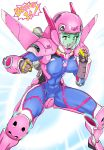 1girl abs acronym adapted_costume animal_print armor blue_bodysuit blue_sky bodysuit breasts brown_eyes brown_hair bunny_print chichipaechichipapa clenched_hands commentary_request covered_navel crotch_plate d.va_(overwatch) emblem english erect_nipples exoskeleton facepaint facial_mark fighting_stance flying glowing glowing_hand helmet henshin highres jetpack looking_at_viewer medium_breasts meka_(overwatch) open_mouth outdoors overwatch pilot_suit pink_lips power_armor ribbed_bodysuit shoulder_pads shouting skin_tight sky smile solo transformation whisker_markings
