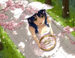 1girl :d bare_shoulders blue_hair braid breasts cherry_blossoms collarbone dress from_above grass hat looking_at_viewer medium_breasts nature niii_(memstapak) open_mouth outdoors petals shokugeki_no_souma smile solo sun_hat sundress tadokoro_megumi tree twin_braids white_dress white_hat yellow_eyes
