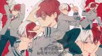 1boy blue_eyes boku_no_hero_academia flower half-closed_eyes korean looking_at_viewer multicolored_hair necktie one_eye_closed pants pose red_necktie red_rose redhead rose school_uniform sideburns solo_focus text todoroki_shouto translation_request two-tone_hair white_hair white_rose