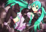 1girl alternate_costume ankle_cuffs blush chained chains character_name checkered checkered_floor garter_straps green_eyes green_hair hatsune_miku headset long_hair looking_at_viewer loose_necktie necktie packge solo thigh-highs thighs twintails vocaloid
