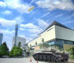 aircraft building clouds cloudy_sky crusader_(tank) day dirigible girls_und_panzer ground_vehicle location_request military military_vehicle motor_vehicle no_humans outdoors r-ex scenery sky tank tank_focus traffic_cone